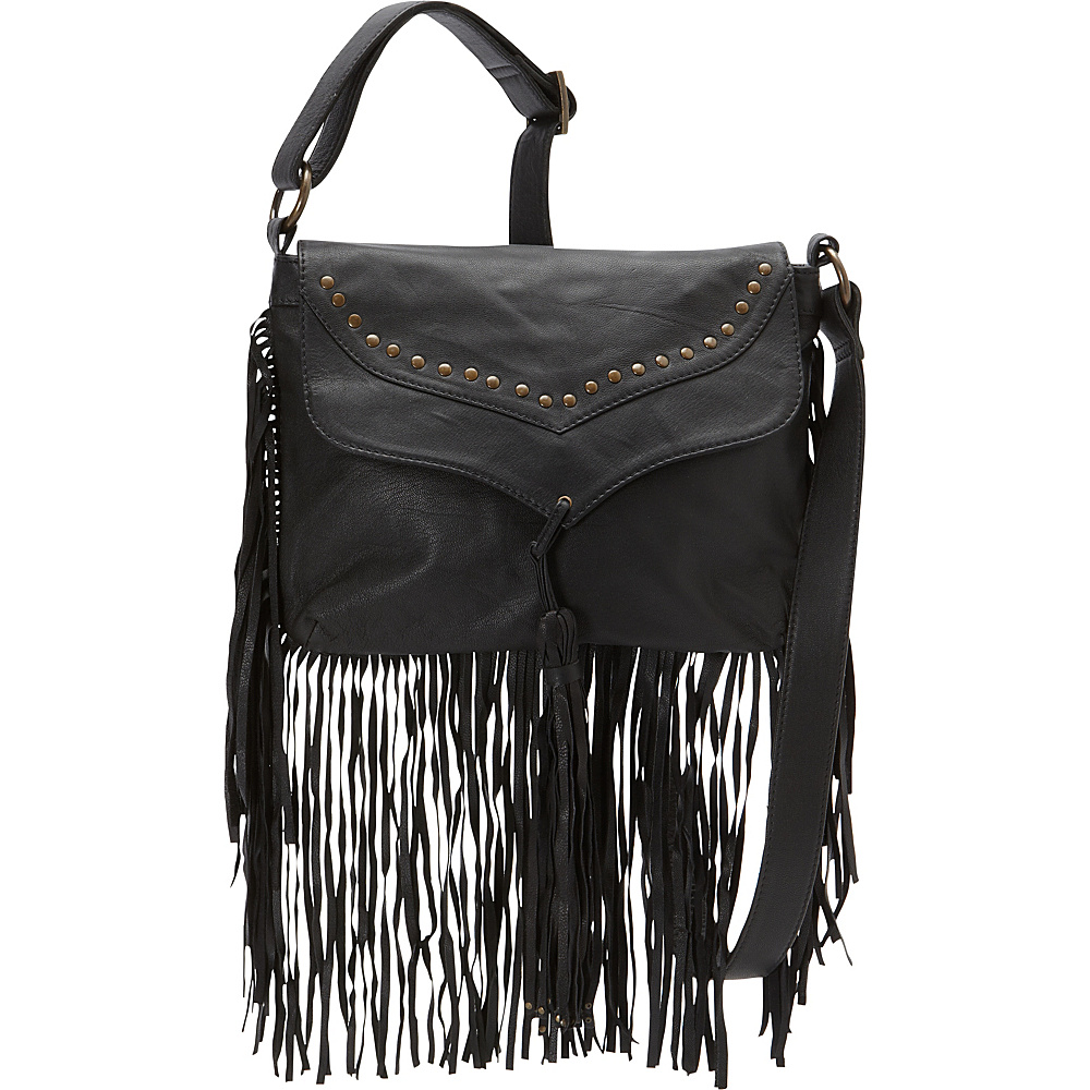 Scully Soft Leather Fringe Crossbody Black Scully Leather Handbags