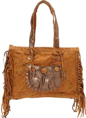 Scully Knotted Fringe Leather Tote Sunset - Scully Leather Handbags