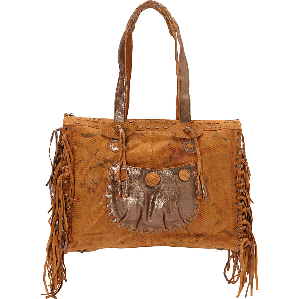 Scully Knotted Fringe Leather Tote Sunset Scully Leather Handbags