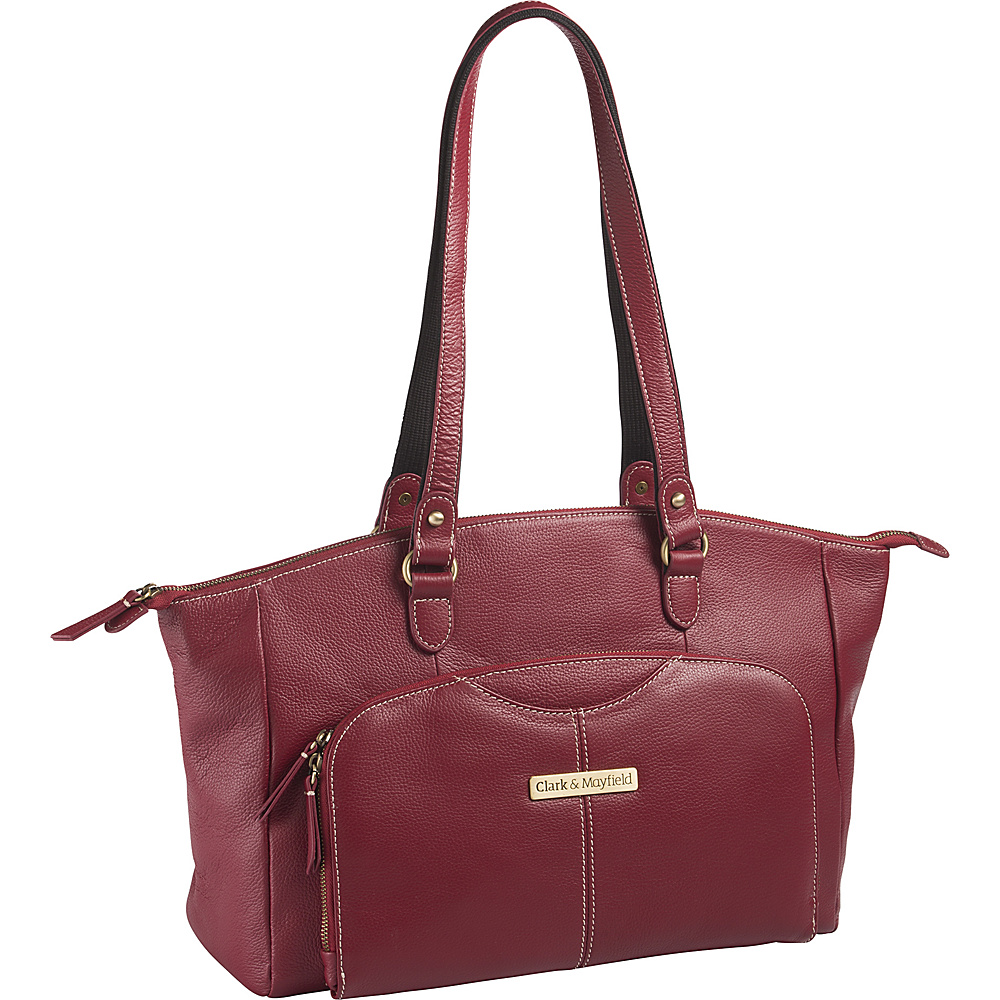 Clark Mayfield Alder Leather 15.6 Laptop Handbag Red Clark Mayfield Women s Business Bags