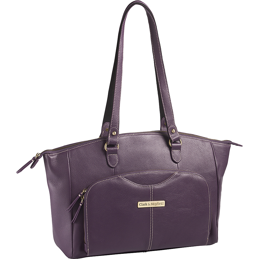 Clark Mayfield Alder Leather 15.6 Laptop Handbag Purple Clark Mayfield Women s Business Bags