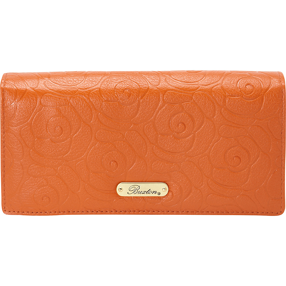 Buxton Rose Garden Expandable Clutch Burnt Orange - Buxton Womens Wallets - Women's SLG, Women's Wallets