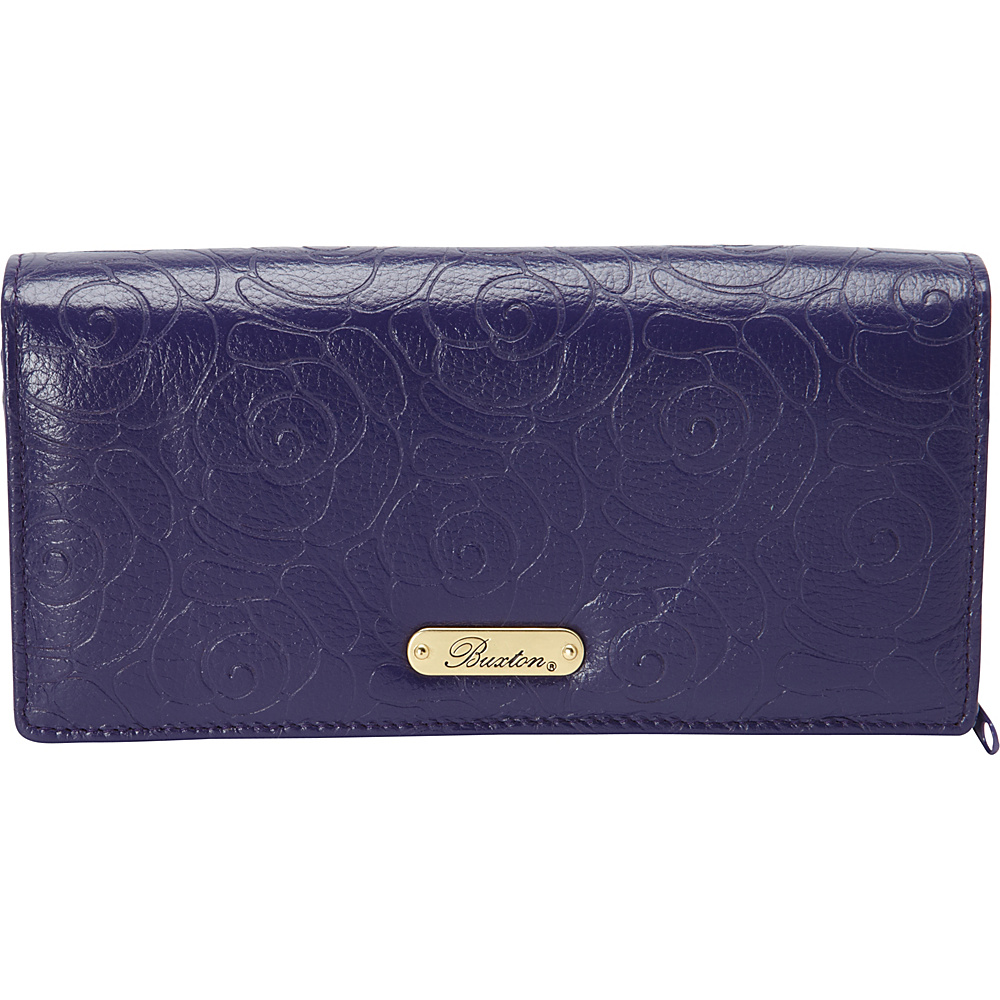 Buxton Rose Garden Expandable Clutch Mulberry - Buxton Womens Wallets - Women's SLG, Women's Wallets