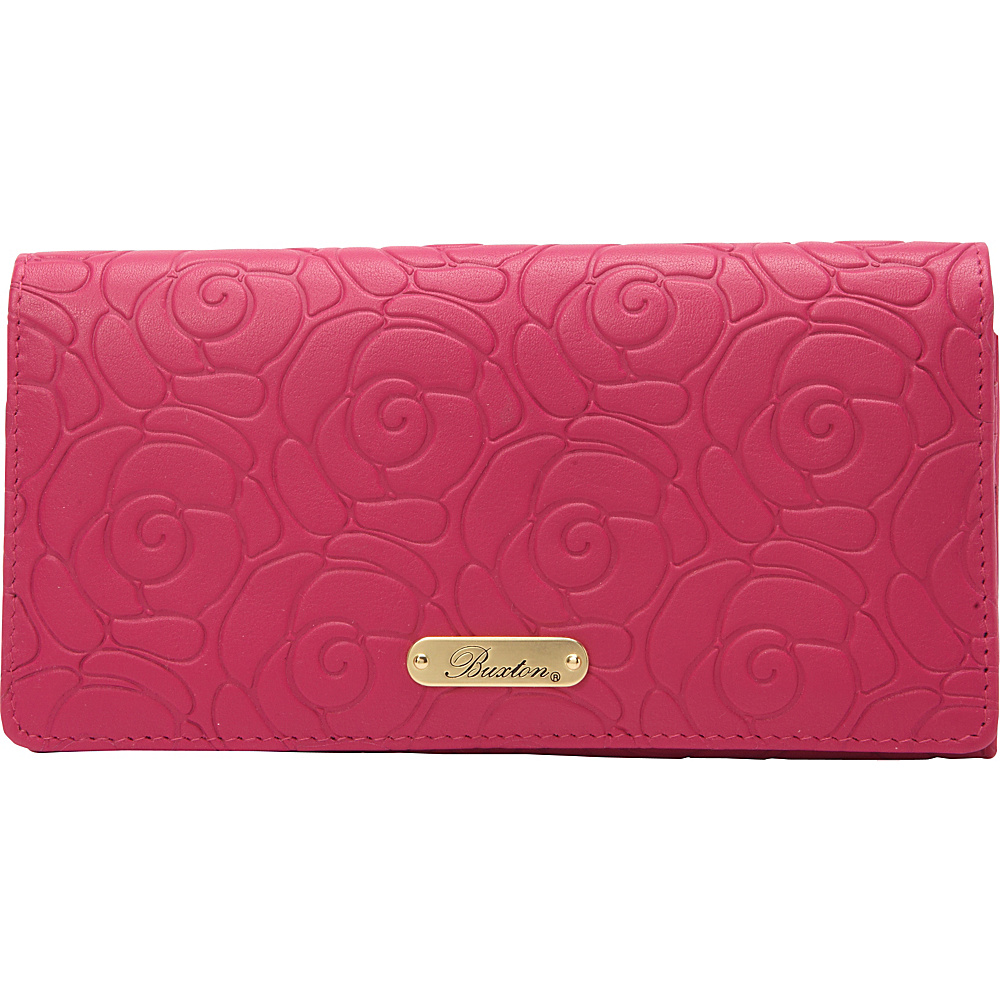 Buxton Rose Garden Expandable Clutch Fuchsia Pink - Buxton Womens Wallets - Women's SLG, Women's Wallets