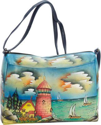 ANNA by Anuschka Hand Painted Medium E/W Shoulder Bag Lighthouse - ANNA by Anuschka Leather Handbags
