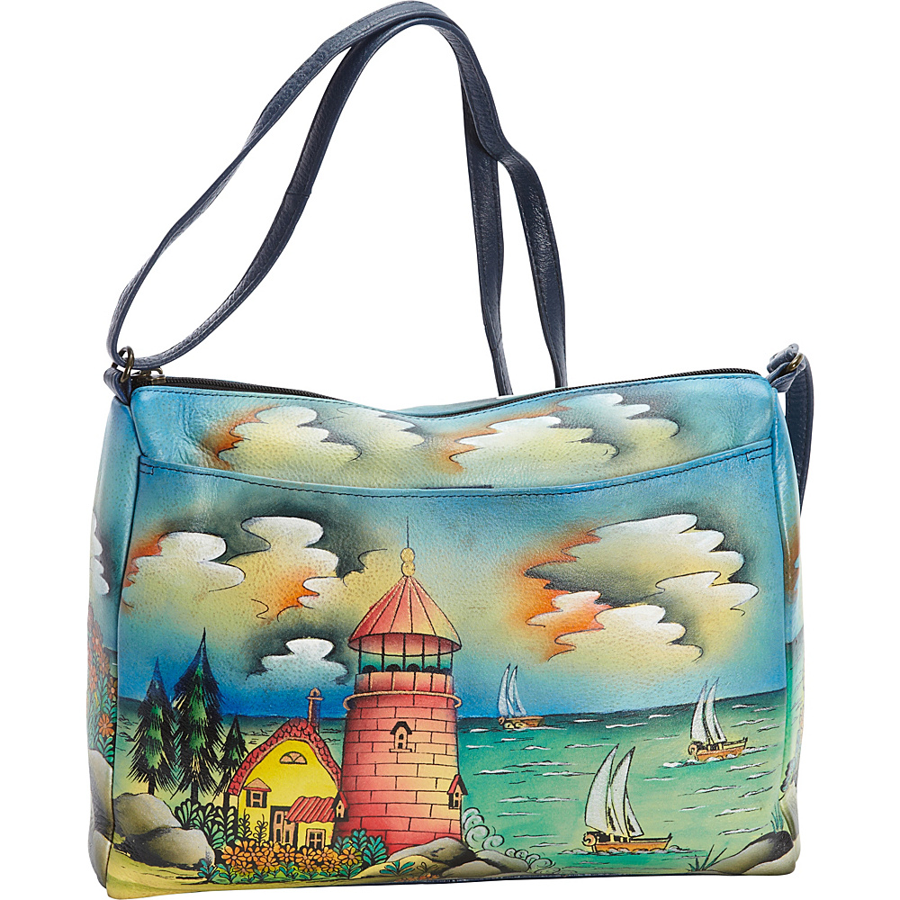 ANNA by Anuschka Hand Painted Medium E W Shoulder Bag Lighthouse ANNA by Anuschka Leather Handbags