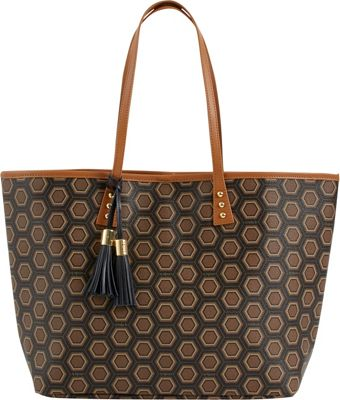 Image of b Luxe Medium London Tote Print Mod Tortoise - b Luxe Manmade Handbags
