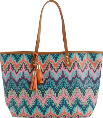 Image of b Luxe Medium London Tote Print Calypso - b Luxe Manmade Handbags