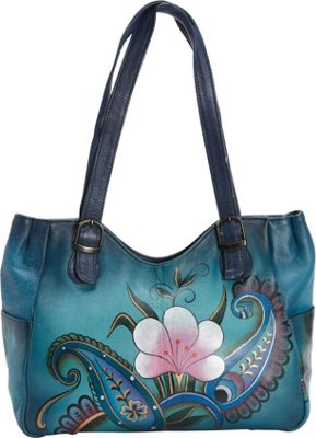 ANNA by Anuschka Hand Painted Medium Shoulder Bag Denim Paisley Floral - ANNA by Anuschka Leather Handbags