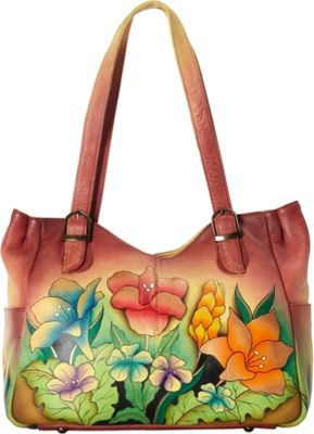 ANNA by Anuschka Hand Painted Medium Shoulder Bag Mediterranean Garden - ANNA by Anuschka Leather Handbags