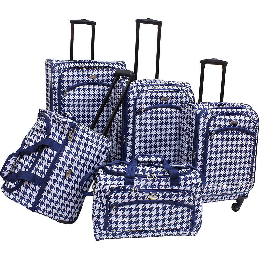 American Flyer Houndstooth 5pc Spinner Set Black Blue American Flyer Luggage Sets