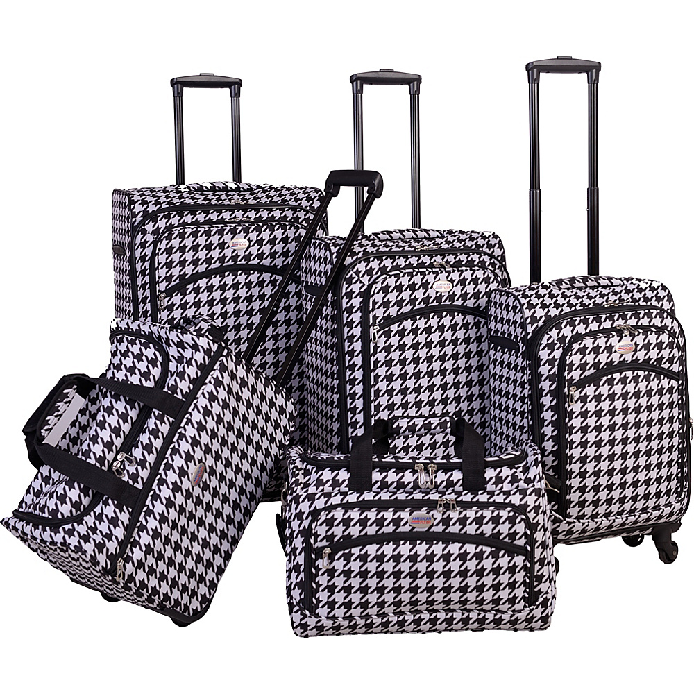 American Flyer Houndstooth 5pc Spinner Set Black White - American Flyer Luggage Sets