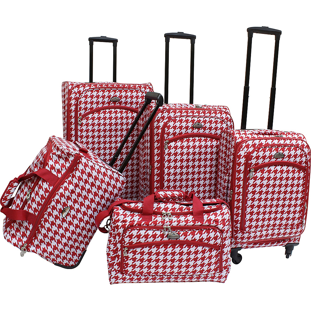 American Flyer Houndstooth 5pc Spinner Set Red American Flyer Luggage Sets
