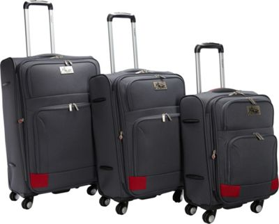 Chariot Genoa 3Pc Luggage Set Grey/Red - Chariot Luggage Sets
