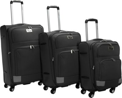 Chariot Genoa 3Pc Luggage Set Black/Grey - Chariot Luggage Sets