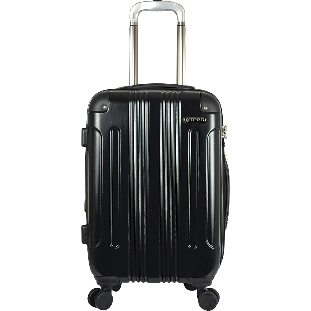 """Travelers Club Luggage Calypso 20"""" P.E.T. Expandable Double Spinner Carry-On Black - Travelers Club Luggage Hardside Carry-On"""