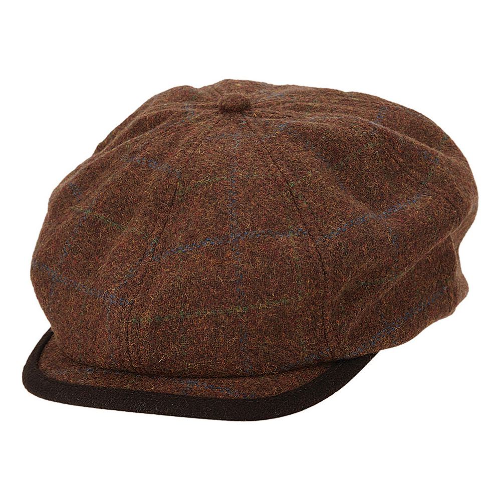 Ben Sherman Window Pane Wool Blend Gatsby Hat Coffee Large Extra Large Ben Sherman Hats Gloves Scarves