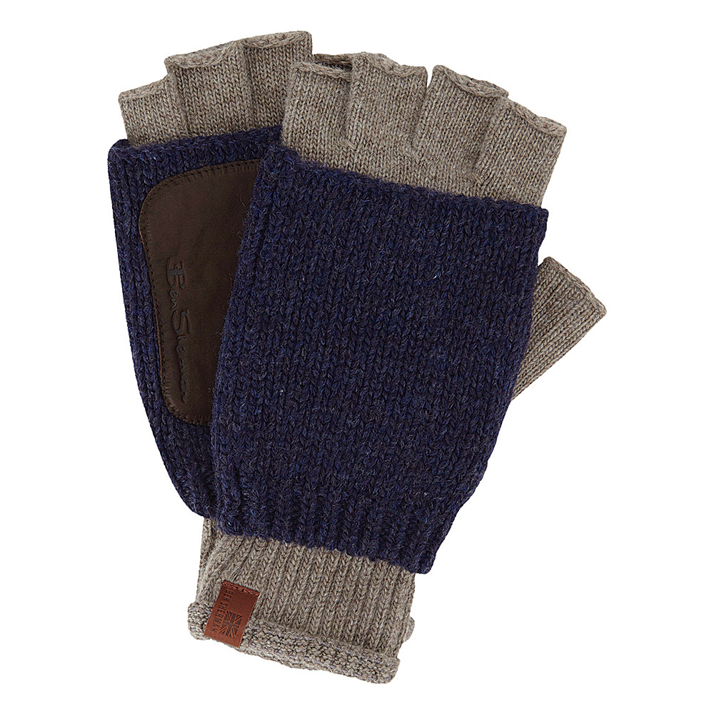Ben Sherman Double Layer Knit Fingerless Gloves Champagne Ben Sherman Hats Gloves Scarves