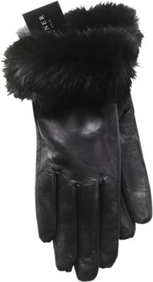 Tanners Avenue Napa Leather Gloves with Fur Trim L - Blac...