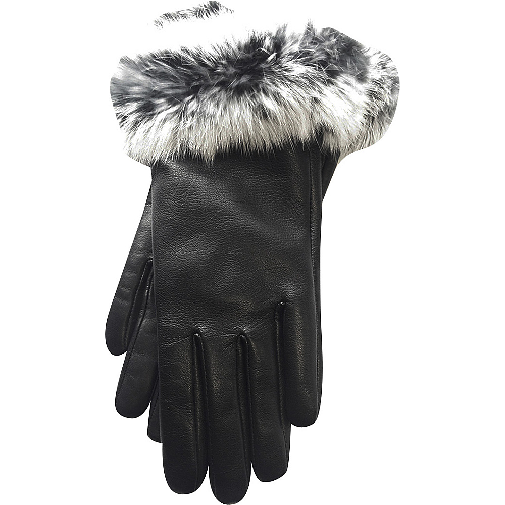 Tanners Avenue Napa Leather Gloves with Fur Trim Black White Large Tanners Avenue Hats Gloves Scarves