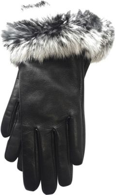 Tanners Avenue Napa Leather Gloves with Fur Trim M - Blac...