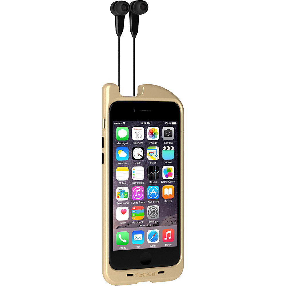 Digital Treasures TurtleCell Retractable Headphone Case for iPhone 6 Gold Digital Treasures Electronic Cases
