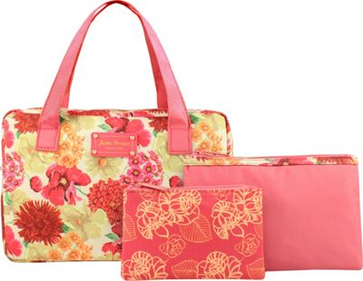 Jacki Design Miss Cherie 3 Piece Cosmetic Bag Gift Set Coral - Jacki Design Women's SLG Other