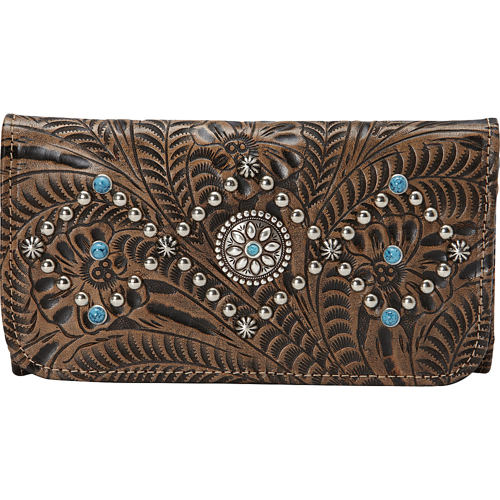 American West Canyon Creek Ladies Tri fold Wallet Distressed Charcoal Brown American West Women s Wallets