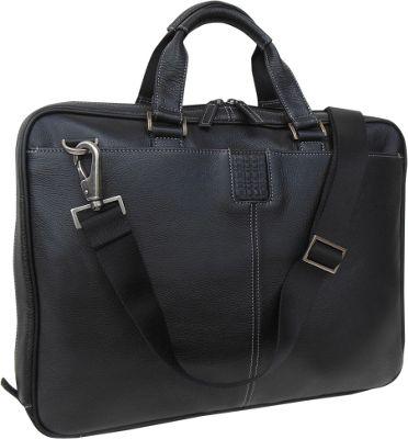 Boconi Tyler Tumbled Zipster Black with Khaki - Boconi Non-Wheeled Business Cases