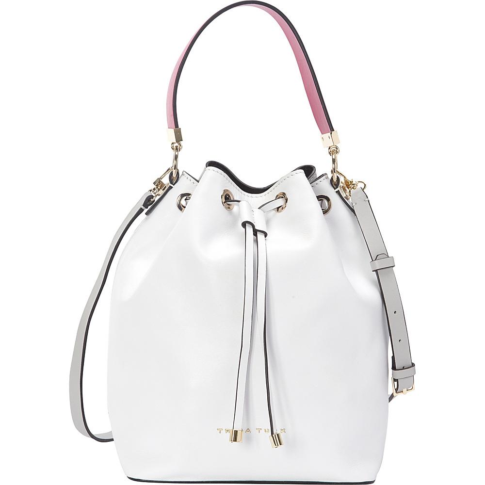 Trina Turk Lyon Bucket White Designer Handbags