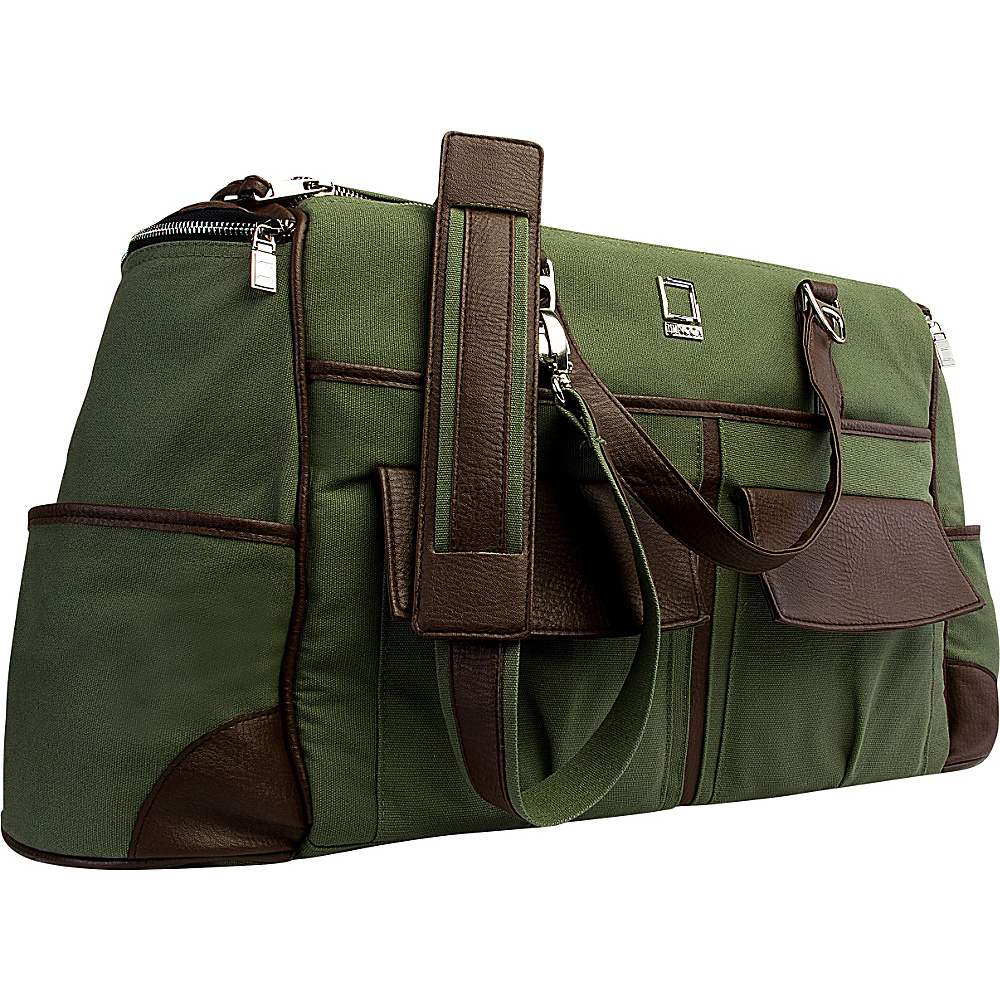 Lencca Alpaque Duffel Carry on Traveler s Bag Forest Green Espresso Brown Lencca Travel Duffels