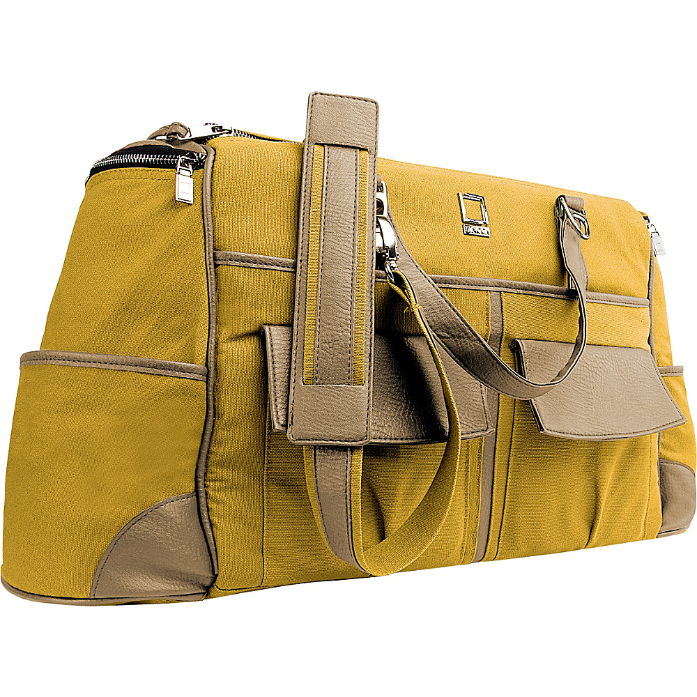 Lencca Alpaque Duffel Carry on Traveler s Bag Mustard Yellow Cool Camel Lencca Travel Duffels