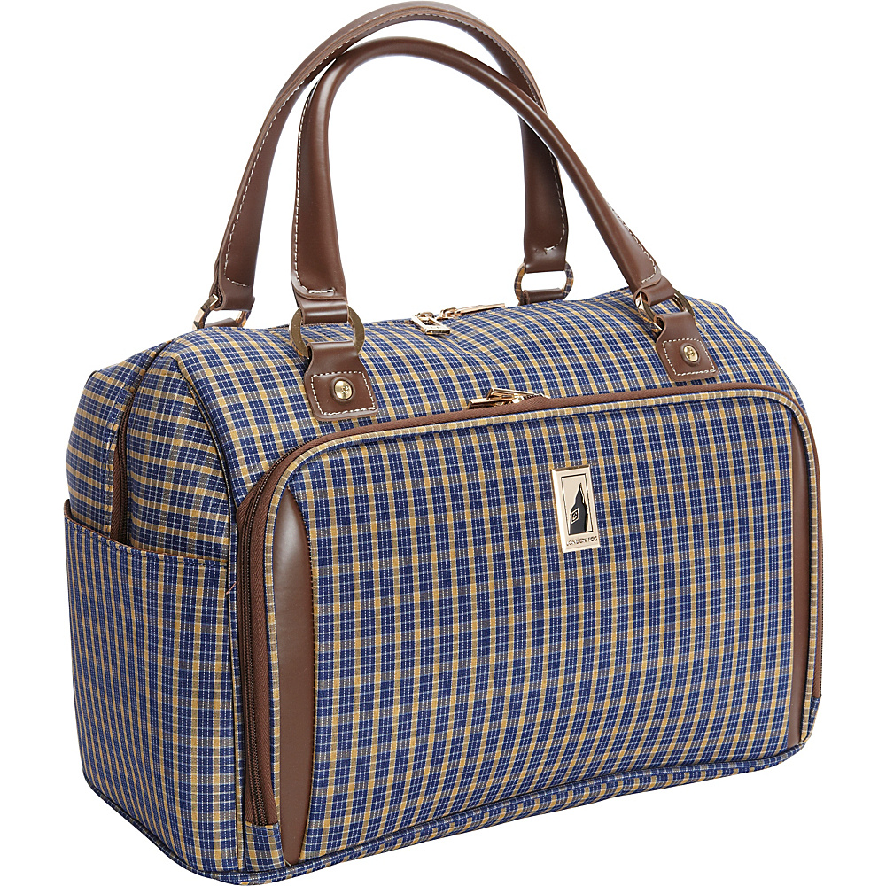 "London Fog Kensington 17"" Deluxe Cabin Bag Blue Tan Plaid - London Fog Softside Carry-On"
