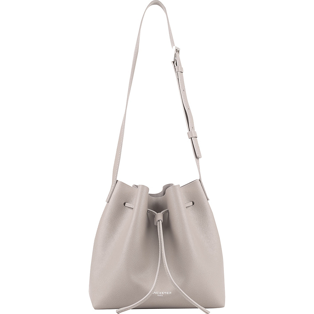 Lancaster Paris PUR Saffiano Drawstring Bucket Stone Lancaster Paris Leather Handbags
