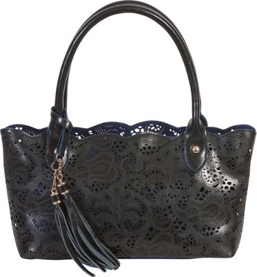 BUCO Small Leather Lace Tote Black - BUCO Leather Handbags