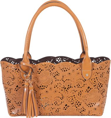 BUCO Small Leather Lace Tote Cognac - BUCO Leather Handbags
