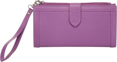 Image of Ann Shelby Evonne Ladies Leather Wallet/Wristlet Purple - Ann Shelby Ladies Small Wallets