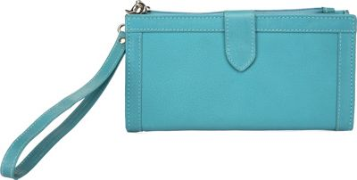 Image of Ann Shelby Evonne Ladies Leather Wallet/Wristlet Turquoise - Ann Shelby Ladies Small Wallets