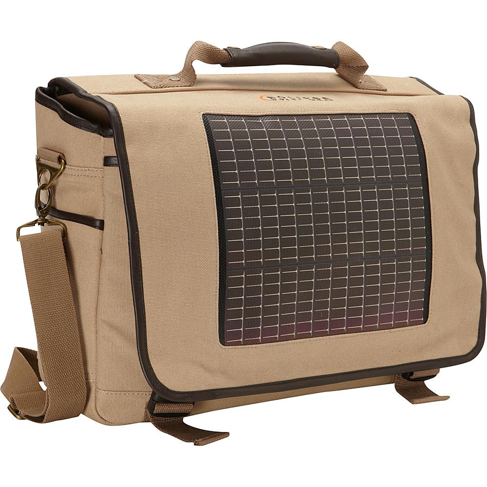 Eclipse Solar Gear Fusion Canvas Solar Messenger Bag Tan - Eclipse Solar Gear Messenger Bags