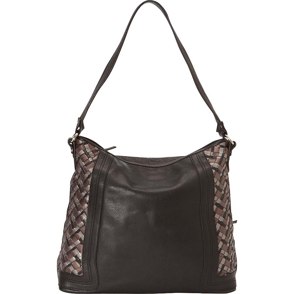 Derek Alexander Large Two Top Zip Shoulder Bag Black/Metallic - Derek Alexander Leather Handbags - Handbags, Leather Handbags