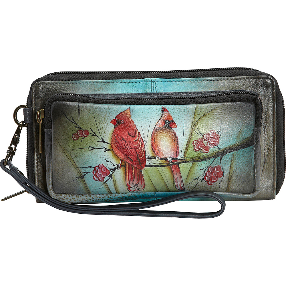 anuschka hand painted leather zip around clutch wallet 3
