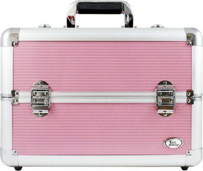 Jacki Design Professional Makeup Train Case with Adjustable Dividers Pink/White - Jacki Design Toiletry Kits