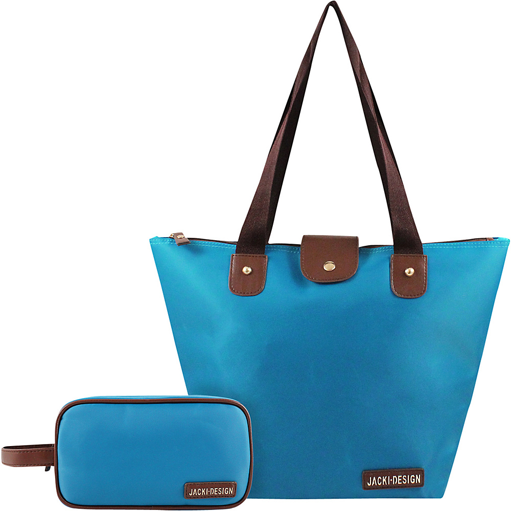Jacki Design 2 Piece Foldable Tote and Toiletry Bag Set Blue - Jacki Design Fabric Handbags