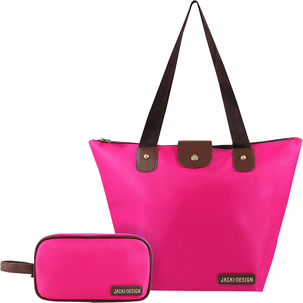 Jacki Design 2 Piece Foldable Tote and Toiletry Bag Set Hot Pink - Jacki Design Fabric Handbags