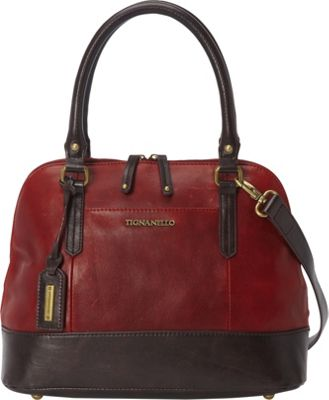 Tignanello Bleeker Street Accordian Satchel with RFID Rouge - Tignanello Leather Handbags