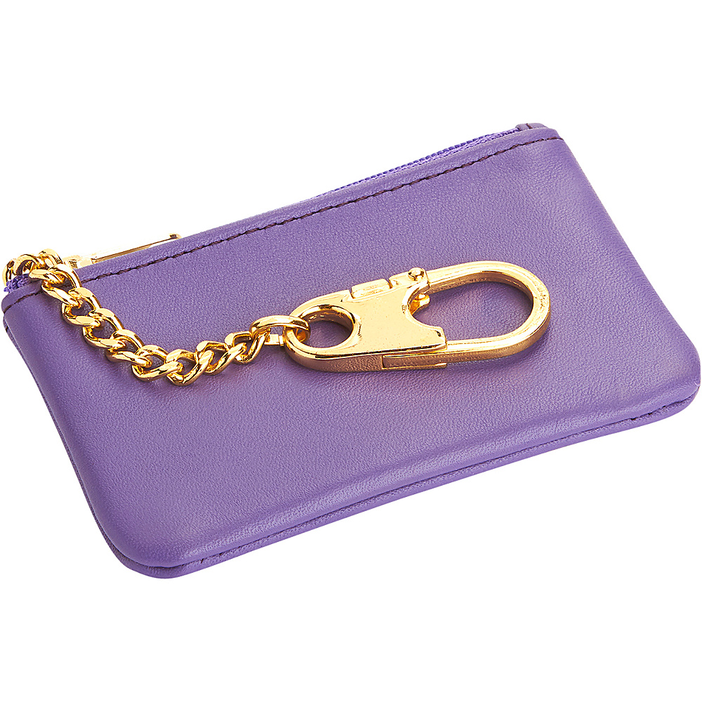 Royce Leather Slim Coin & Key Holder Wallet Purple Royce Leather Women's Wallets