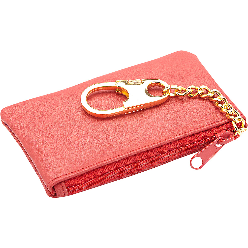 Royce Leather Slim Coin & Key Holder Wallet Red Royce Leather Women's Wallets