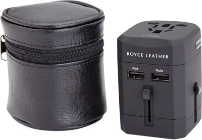Royce Leather International Travel Adapter Wall Plug Leather Case Black - Royce Leather Travel Electronics