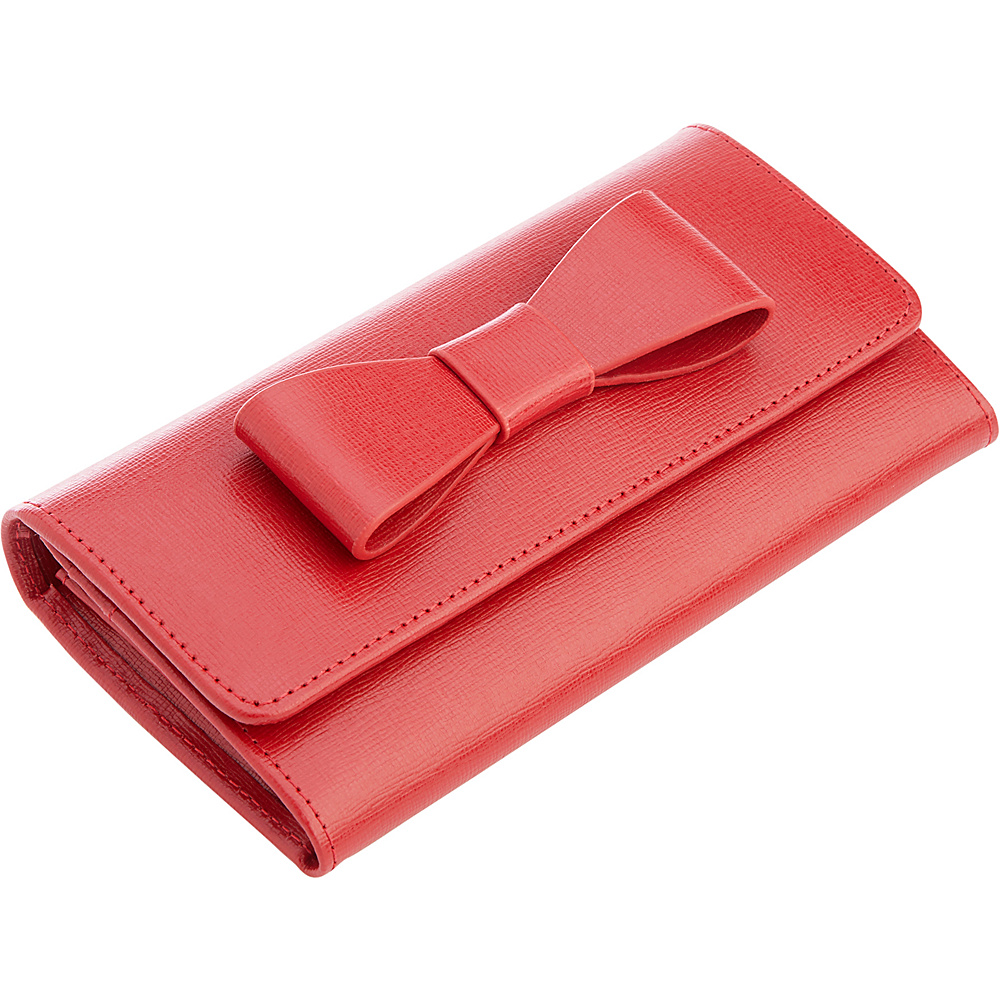 Royce Leather Large Bow RFID Blocking Wallet Red - Royce Leather Womens Wallets - Women's SLG, Women's Wallets