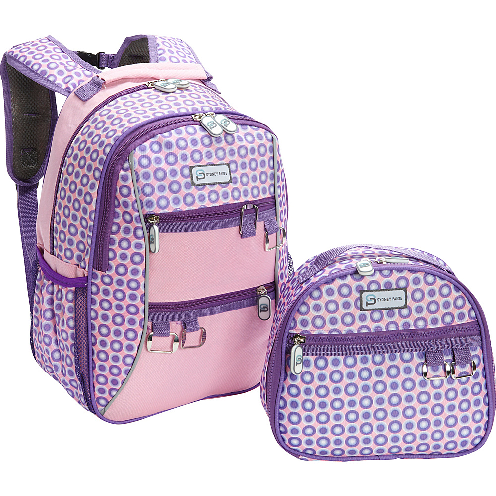 Sydney Paige Buy One/Give One Kids Backpack + Lunch Bag Set Purple Spotlight - Sydney Paige Everyday Backpacks